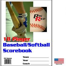 18 player / 24 game – Detailed Baseball/Softball Scorebook