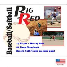 15 player / 50 game – Side-by-Side Baseball/Softball Scorebook