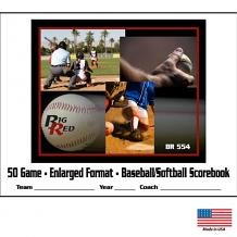 12 Player / 50 Game – Enlarged Format Baseball/Softball Scorebook